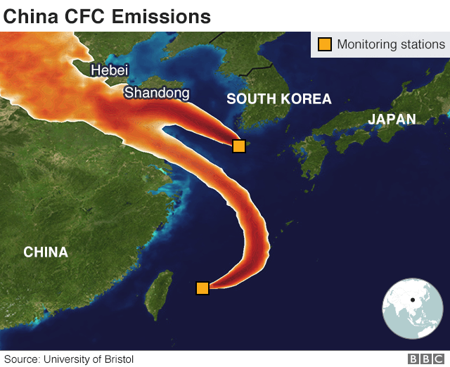 Map showing monitoring stations in Korea and Japan detecting the mystery sources of CFC-11
