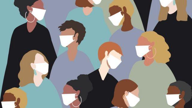 Ilustração de pessoas com máscaras
