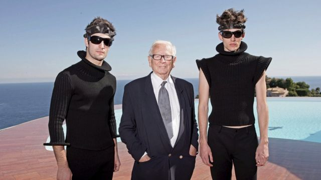Cardin with models from his 2009 collections at his villa in France