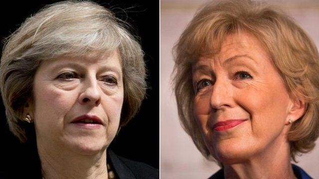 Theresa May(l) and Andrea Leadsom