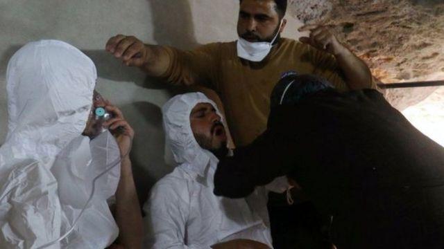 Shambuio la kemikali katika mkoa wa Idlib nchini Syria mnamo mwezi Aprili ambapo takriban watu 80 waliuawa