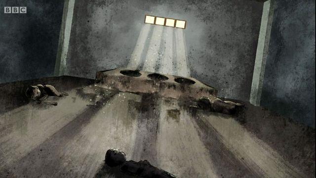 Dibujo de las letrinas con tres cuerpos tirados en el suelo.