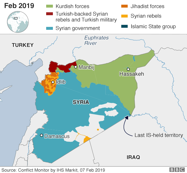 Map showing who controls where in Syria, 7 February 2019