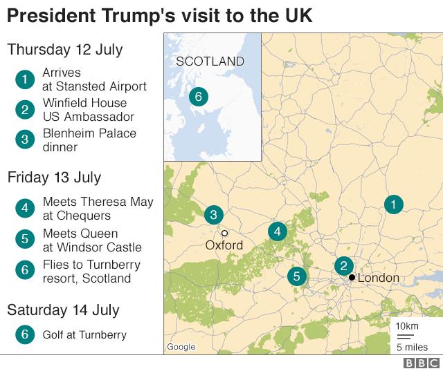 トランプ氏の訪英スケジュール。12日にスタンステッド空港に到着したトランプ氏は、駐英米大使公邸「ウィンフィールド・ハウス」を訪れた後ブレナム宮殿で夕食会に出席した。13日は英首相別邸「チェッカーズ」でメイ首相と会談、ウィンザー城でエリザベス女王に面会後、スコットランドのターンベリー・リゾートに空路で向かう。14日にはターンベリーでゴルフの予定だ
