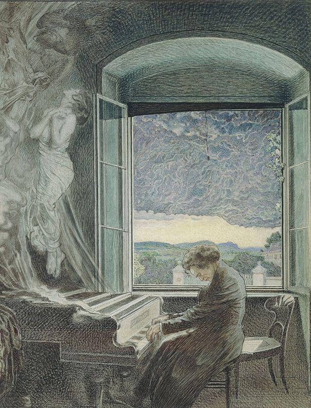 Retrato de Beethoven tocando el piano en su casa de Viena de autor desconocido.