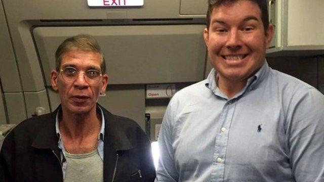 Ben Innes poses with EgyptAir hijacker Seif Eldin Mustafa on board flight MS181