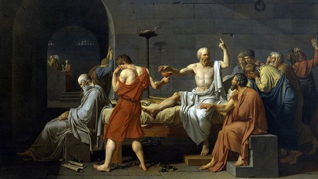 Imagen del cuadro La muerte de Sócrates.