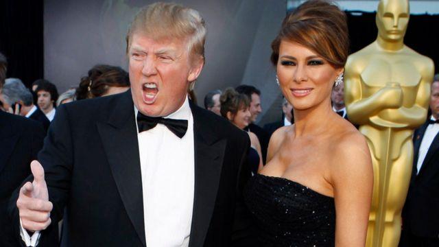 ترامب وزوجته ميلانيا في حفل جوائز الاوسكار عام 2011