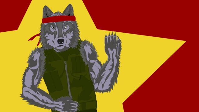 Wolf wearing a flak jacket and bandana against a red backdrop with a yellow star