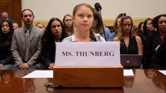 Swedish environment activist Greta Thunberg takes part in a joint hearing before the US congressional House Foreign Affairs Committee