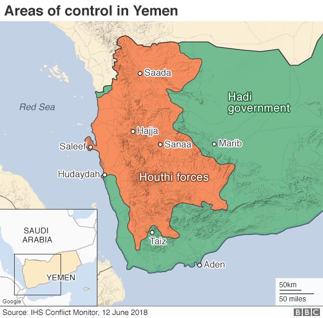 Map showing control of Yemen (12 June 2018)