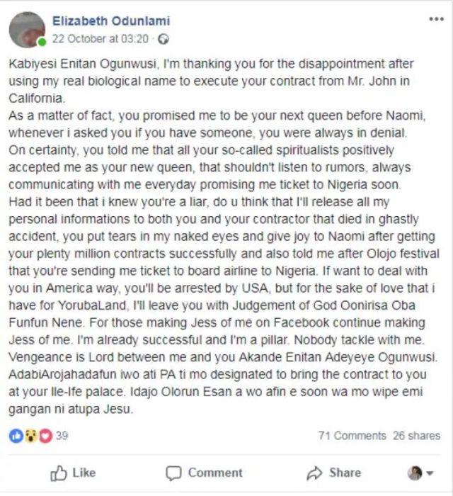 Ọrọ Elizabeth Odunlami loju opo Facebook.