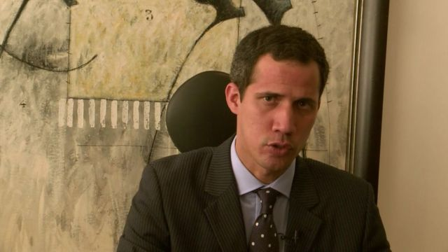 Mr Guaidó speaking in Caracas interview