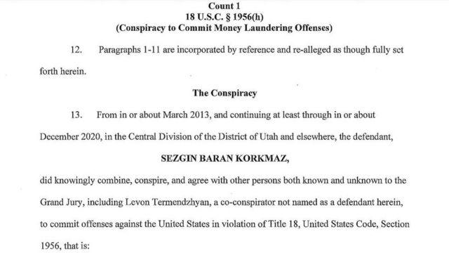 Sezgin Baran Korkmaz hakkındaki iddianame