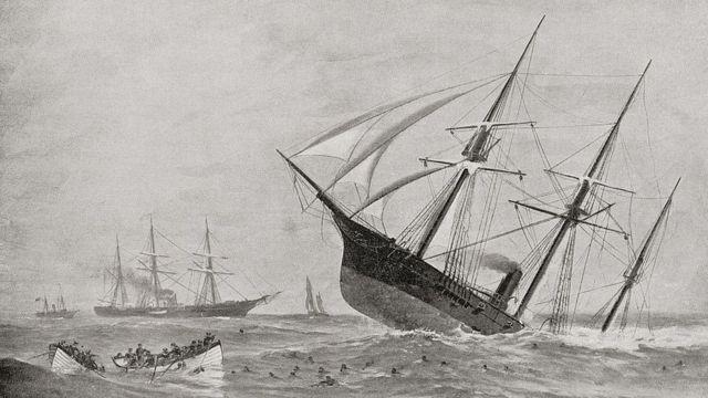 Ilustración de un naufragio del siglo XIX.