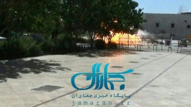 Picture shows explosion outside at the mausoleum