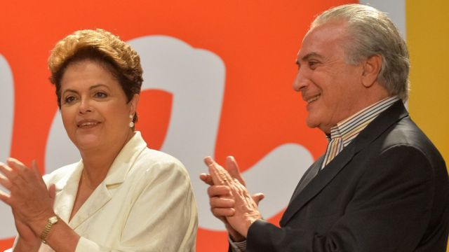 Dilma e Temer durante a campanha