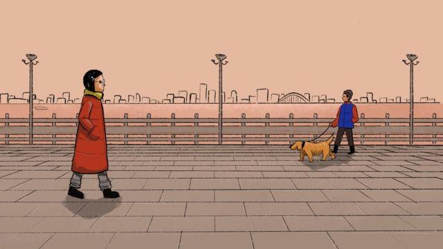 插图(散步和遛狗的女子)