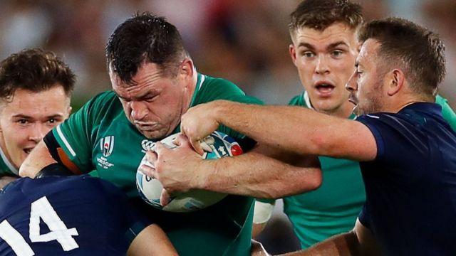 Cian Healy in World Cup action for Ireland against Scotland
