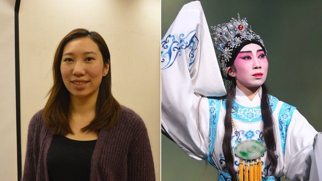 Composite image of Mitchie Choi (left) and Mitchie Choi in costume (right)