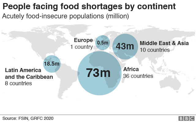 Map showing number of people facing food insecurity