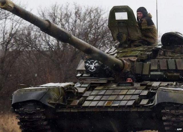 Russian tank used by rebels near Donetsk, 2 Feb 15