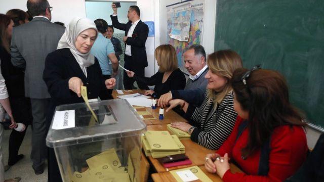 الأتراك يصوتون في استفتاء على تغيير نظام الحكم من البرلماني إلى الرئاسي