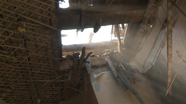 Hospital damaged in Donetsk