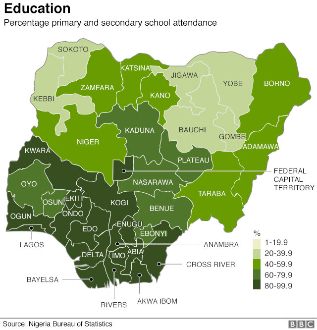 Map showing school attendance by state