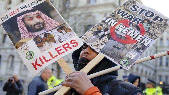 مظاهرة مناهضة لزيارة بن سلمان لانجلترا في مارس/أذار 2018