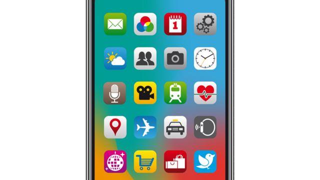 Pantalla de inicio de celular con aplicaciones de colores.