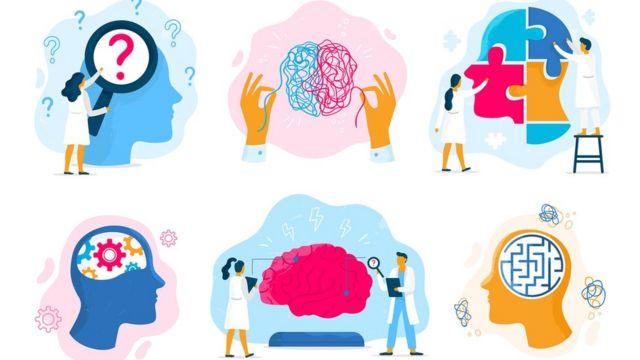 Ilustrações de cientistas e cérebros