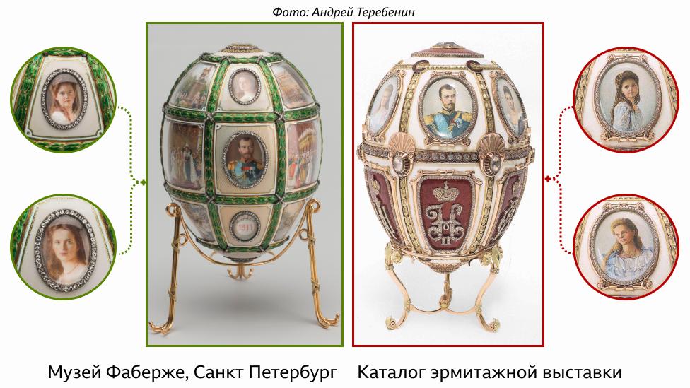 Экспонаты в Эрмитаже и Музее Фаберже