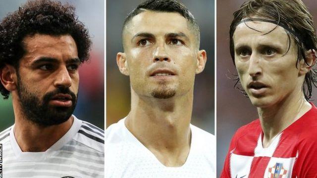 Cristiano Ronaldo, Luka Modric and Mohamed Salah
