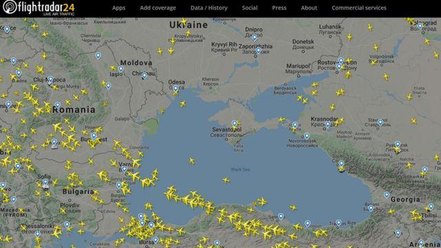Скриншот сайта FlightRadar24.com
