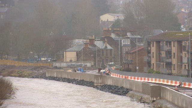 Flood defences in Brechin