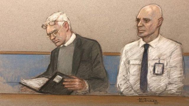 Ассанж в суде, рисунок художника