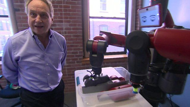 Rodney Brooks of Rethink Robotics with one of his robots