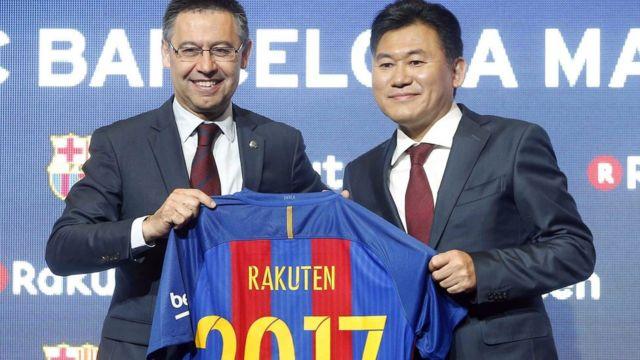رئيس برشلونة ورئيس راكوتين اليابانية