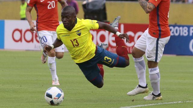 Valencia en una acción del partido.