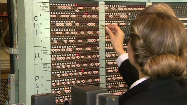 Re-enactment of a code breaker at Bletchley Park