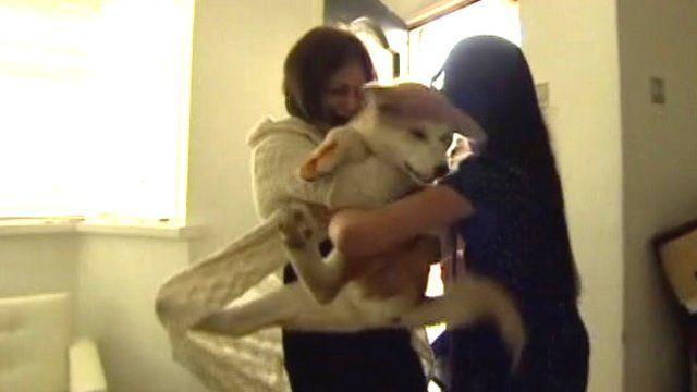 Family hugging dog
