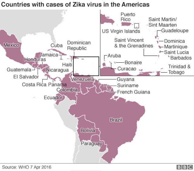 ジカ感染例が報告された中南米各国(今月7日時点、WHO調べ)