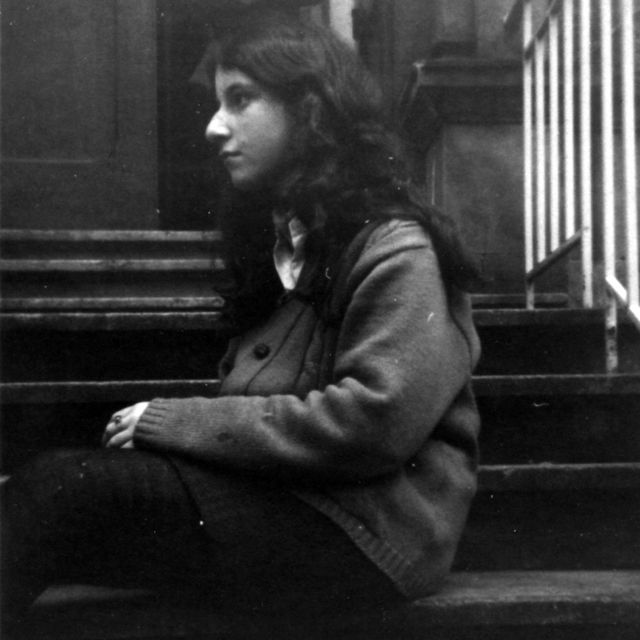 Margo photographed on the front steps of her home in Hyndland, Glasgow, before the nose job, in 1967 or 1968
