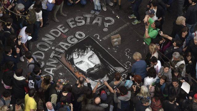 Una protesta para reclamar por la aparición de Santiago Maldonado en Buenos Aires el 1 de septiembre de 2017.