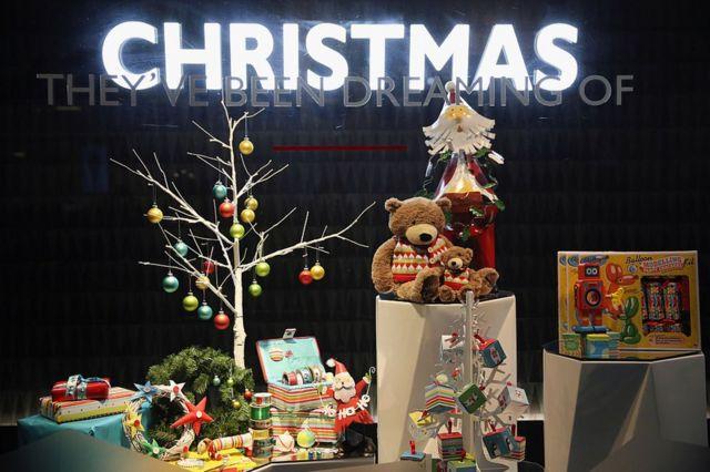 一家商店的圣诞装饰