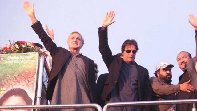 دسمبر 2017 میں جڑانوالہ کے جلسے میں عمران خان اور جہانگیر ترین