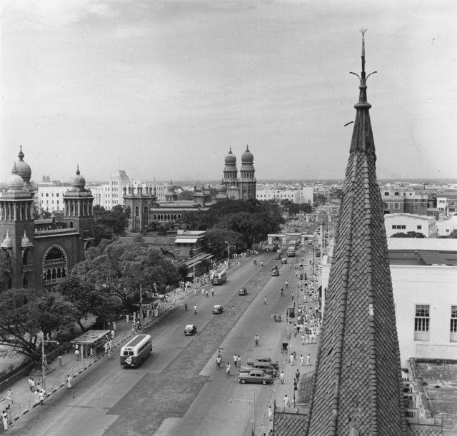 1961ஆம் ஆண்டு எடுக்கப்பட்ட சென்னை நேதாஜி சாலையின் தோற்றம்.