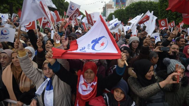 Manifestación en Túnez.