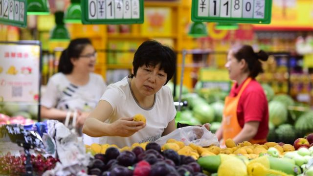 Shoppers at a supermarket on June 9, 2018 in Fuyang, Anhui Province of China.